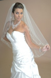 Beaded Edge Bridal Veil Set