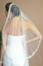 Sequins Beaded Edge Mantilla Bridal Veil