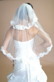 Two Tier Elbow Lace Edge Bridal Veil