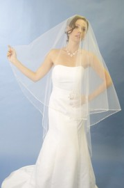 Elbow Length Metallic Edge beaded veil with pearls and rhinestones Bridal Veil