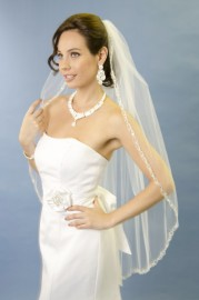 One Tier Fingertip Embroidered Edge with Rhinestone Bridal Veil