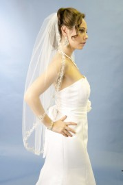 One Tier Cathedral Length Embroidered Edge with Sequin and Rhinestone Bridal Veil