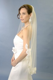 Fingertip Lace Edge Bridal Veil