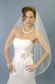 One Tier Fingertip with Beaded Edge Bridal Veil