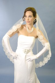 Two Tier Cathedral Length Lace Edge Bridal Veil Set