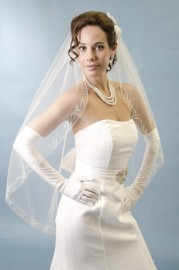 One Tier Fingertip Silver Beaded Edge Bridal Veil