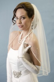 Two Tier Cathedral Length Soutache Edge with Rhinestone Border Bridal Veil Set