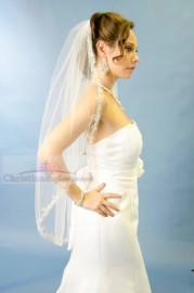 One Tier Fingertip Embroidered Edge with Sequin and Rhinestone Bridal Veil