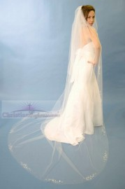 One Tier Cathedral Length Scattered Rhinestone Cut Edge Bridal Veil