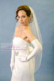 One Tier Fingertip Scattered Rhinestone Cut Edge Bridal Veil