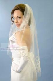 One Tier Fingertip Lace Motifs Cut Edge Bridal Veil
