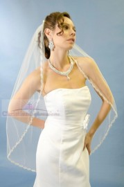 One Tier Fingertip Beaded Edge Bridal Veil