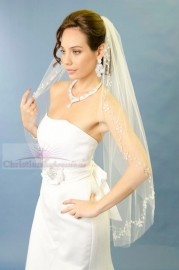 One Tier Fingertip Beaded Floral Vine Edge Bridal Veil