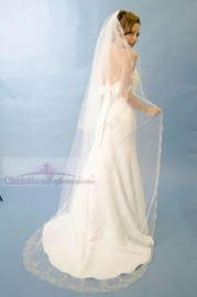 Chapel Length Scallop Embroidered Edge Bridal Veil Set