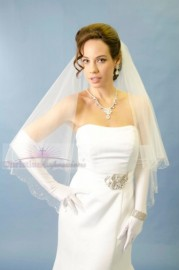 Catherdral Length Scallop Beaded Crystal Edge Bridal Veil