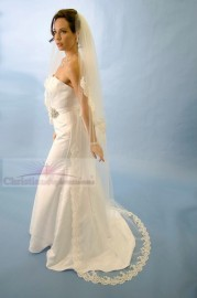 Chapel Length Lace Edge Bridal Veil
