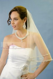 Two Tier Fingertip with Beaded Edge Bridal Veil