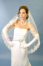 One Tier Cathedral Length Lace Edge Bridal Veil