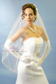 One Tier Cathedral Length Silver Beaded Edge Bridal Veil