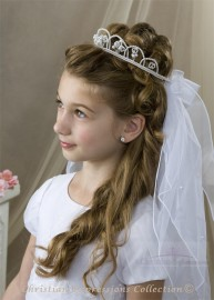 First Communion Crown Veil V890