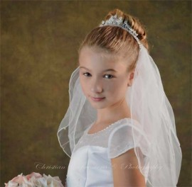 First Communion Crystal Crown Veil with Pearls