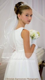 First Communion Veil with Ribbon Trim