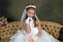 First Communion Wreath Veil with Satin Roses