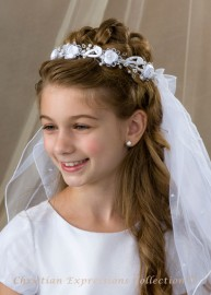First Communion Wreath Veil- V819