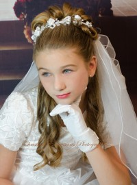 First Communion Wreath Veil Rose Accents