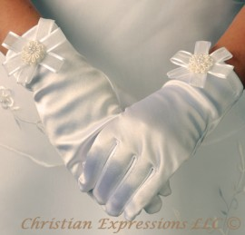Satin First Communion Gloves with Organza Bow and Rosette