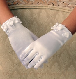 Satin First Communion Gloves with Small Rosettes