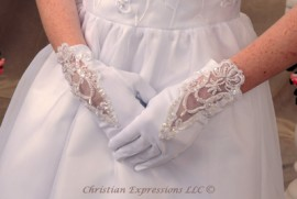 Gloves-Matte Satin w/Lace & Organza