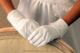 Satin First Communion Gloves with Organza Cuff and Rhinestone Beads