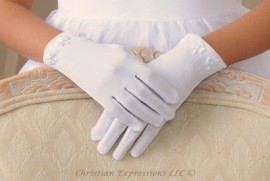 First Communion Gloves with Irish Shamrocks