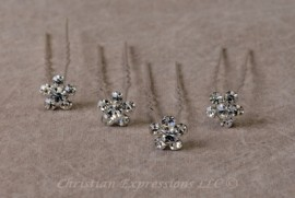 Hairpins-Rhinestone Flowers
