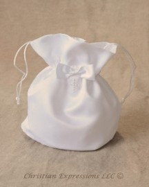Satin First Communion Purse with Pearl Cross