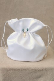 Satin First Communion Purse with Pearl Loop and Gold Cross