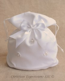Satin First Communion Purse with Irish Shamrocks