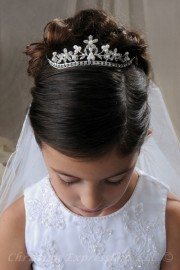 First Communion Tiara Crown with Pearls