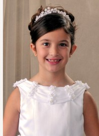 First Communion Pearl Flower Tiara