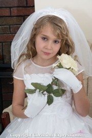 Wide Band First Communion Headband Veil with Rhinestones