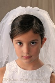 First Communion Veils with Organza Bows