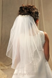 Crystal Accents Clip on First Communion Veil