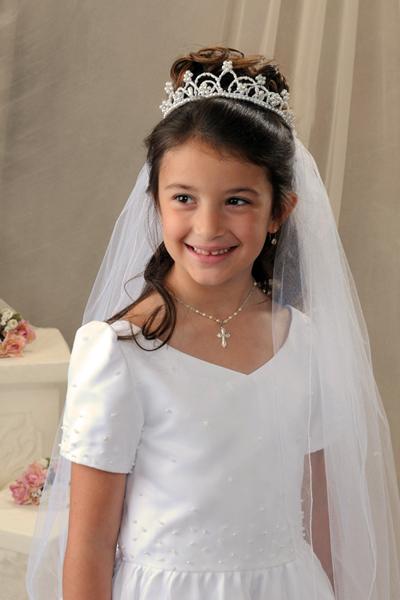 First Communion Pearl Crown Veil Bridal Wedding Veils