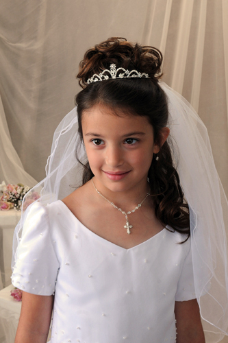 First Communion Tiara With Daisy Flower First Communion