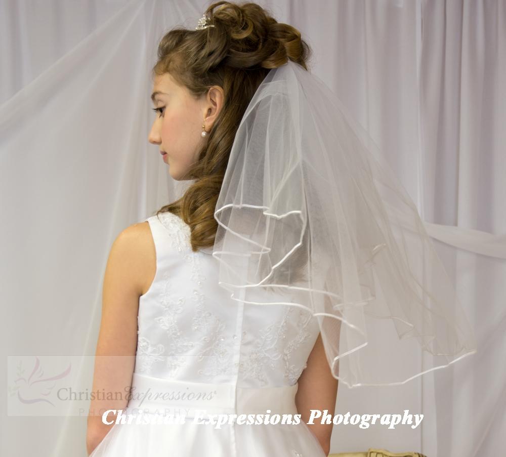 Christian Bridal Hairstyle: First Communion Veils-White - Bridal Wedding Veils