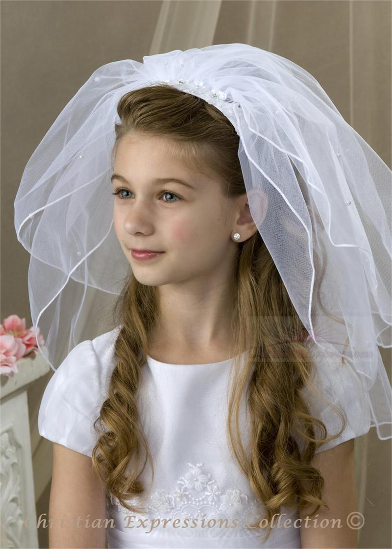 First Communion Headband Veil V835