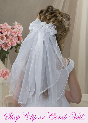 First Communion Clip Veils - First Communion Comb Veils