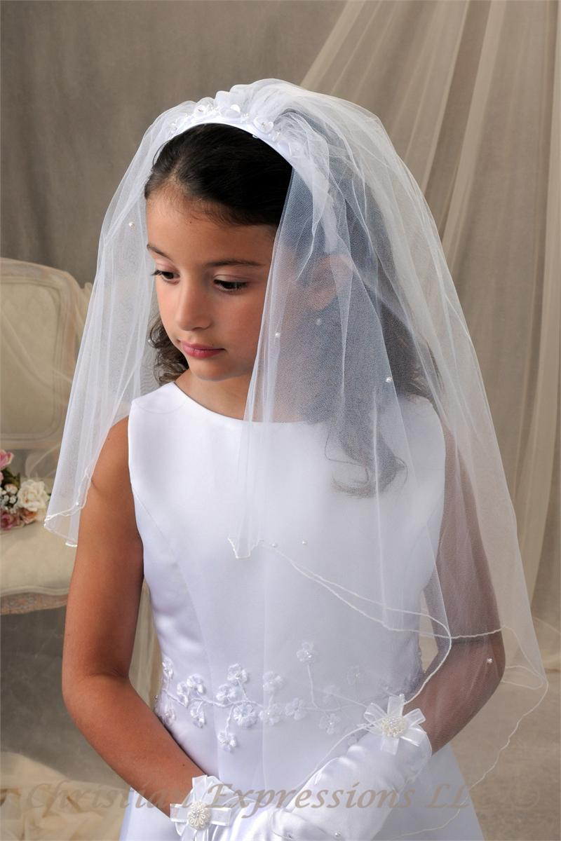 First Communion Headband Veil with Pretty Flowers  ce50b57c84c